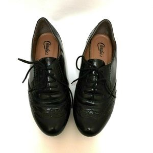 CandiesTuxedo Black Flats Lace Up Shoes Size 8.5
